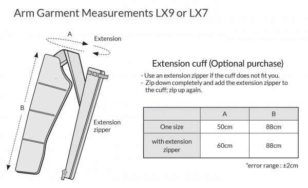 LX9 garment measurements