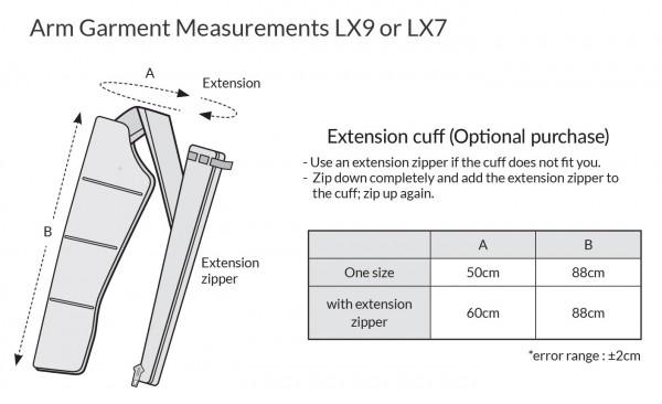LX9 garment measurements